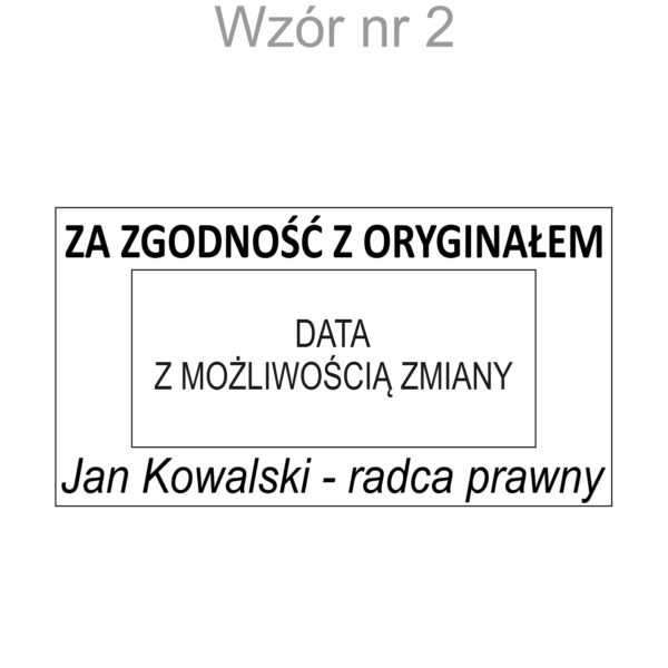 """datownik """" za zgodność z oryginałem"""" wzór 2"""