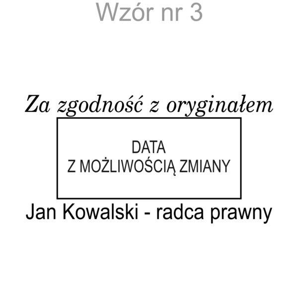 """pieczatka z data """" za zgodnosc z oryginalem"""" wzor 3"""