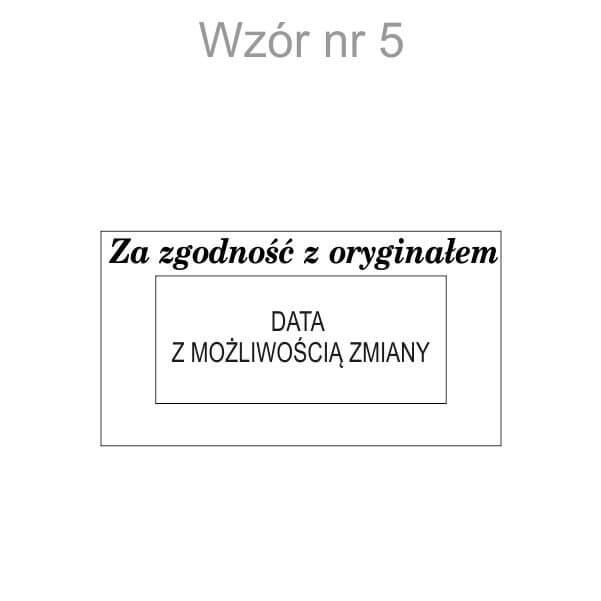 wzór pieczątki z datą za zgodność