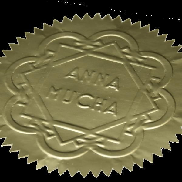 złota naklejka