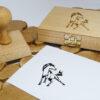 Ex libris na stemplu z poduszką drewnianą motyw koń