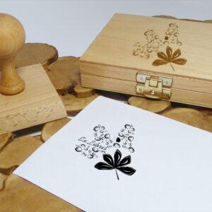 Ekslibris z lisciem kasztanowca, stempel drewniany
