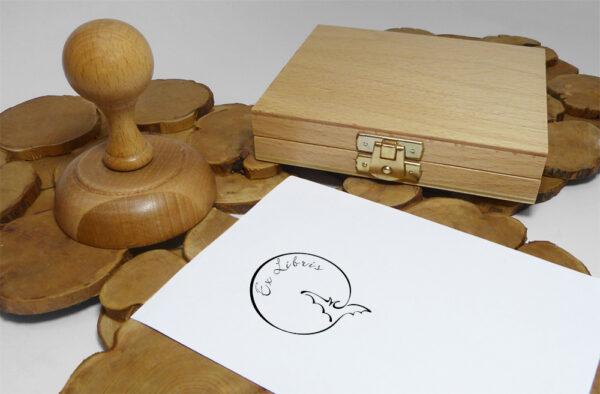 Ex libris stempel drewniany i drewniana poduszka na tusz