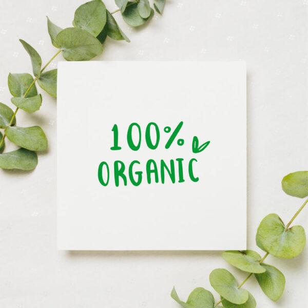 stempel wspierający sprzedaż wzór 100% organic_prostokąt