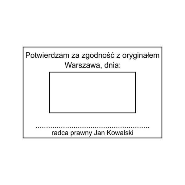 Pieczątka z datą radcy prawnego z dodatkowym tekstem Potwierdzam za zgodność z oryginałem z miejscem na podpis wzór nr 1