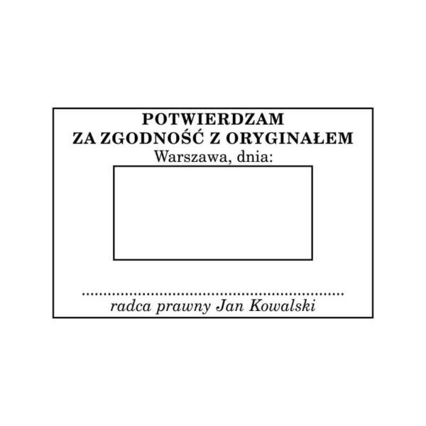 Pieczątka z datą radcy prawnego z dodatkowym tekstem Potwierdzam za zgodność z oryginałem z miejscem na podpis wzór nr 2