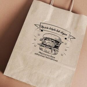 Stempel drewniany do samodzielnego nadruku na torbach papierowych z gotowym wzorem personalizowanym burger