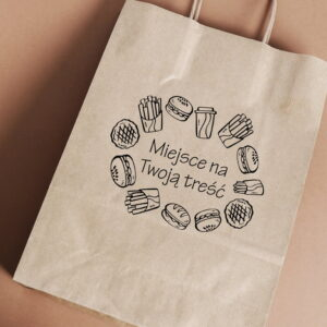 Stempel drewniany do samodzielnego nadruku na torbach papierowych z gotowym wzorem personalizowanym burgery frytki mix