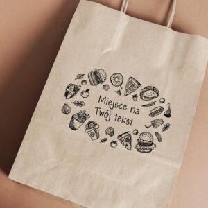 Stempel drewniany do samodzielnego nadruku na torbach papierowych z gotowym wzorem personalizowanym fast food mix
