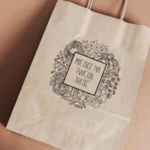 Stempel drewniany do samodzielnego nadruku na torbach papierowych z gotowym wzorem personalizowanym italian food