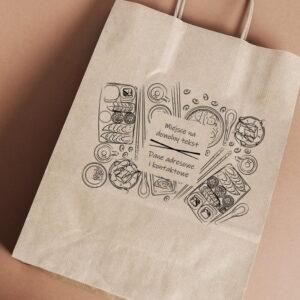 Stempel drewniany do samodzielnego nadruku na torbach papierowych z gotowym wzorem personalizowanym japan fastfood