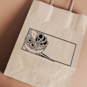 Stempel drewniany do samodzielnego nadruku na torbach papierowych z gotowym wzorem personalizowanym japan food
