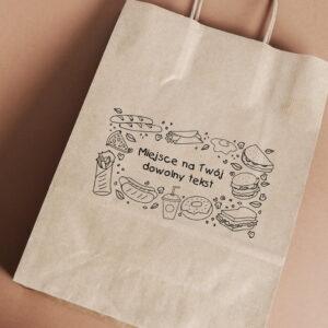 Stempel drewniany do samodzielnego nadruku na torbach papierowych z gotowym wzorem personalizowanym jedzenie mix