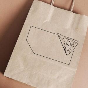Stempel drewniany do samodzielnego nadruku na torbach papierowych z gotowym wzorem personalizowanym kawałek pizzy