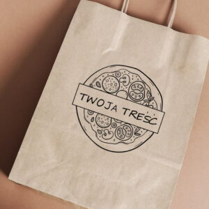 Stempel drewniany do samodzielnego nadruku na torbach papierowych z gotowym wzorem personalizowanym pizza