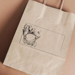 Stempel drewniany do samodzielnego nadruku na torbach papierowych z gotowym wzorem personalizowanym ramka burger frytki ciastko