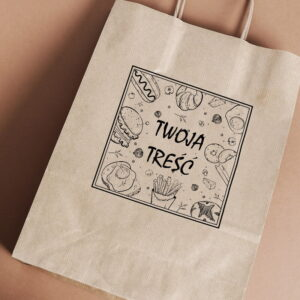 Stempel drewniany do samodzielnego nadruku na torbach papierowych z gotowym wzorem personalizowanym ramka food mix kwadrat