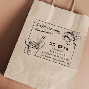 Stempel drewniany do samodzielnego nadruku na torbach papierowych z gotowym wzorem personalizowanym ramka makaron croissant