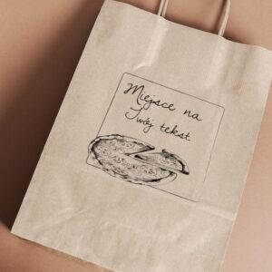 Stempel drewniany do samodzielnego nadruku na torbach papierowych z gotowym wzorem personalizowanym ramka pizza