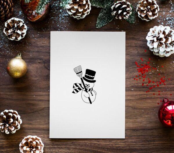 stempel świąteczny z bałwankiem