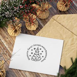stempel świąteczny z choinką i płatkami śniegu
