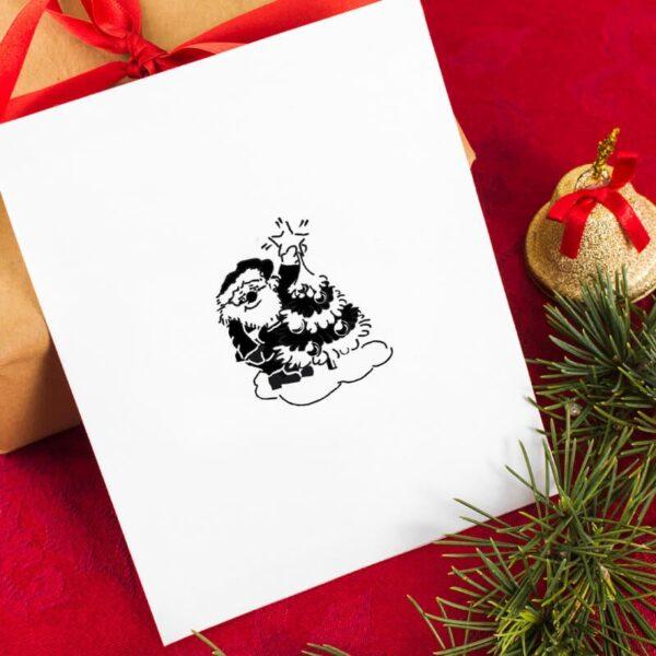 stempel świąteczny z Mikołajem i choinką