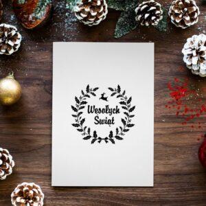 stempel świąteczny z życzeniami okrągły