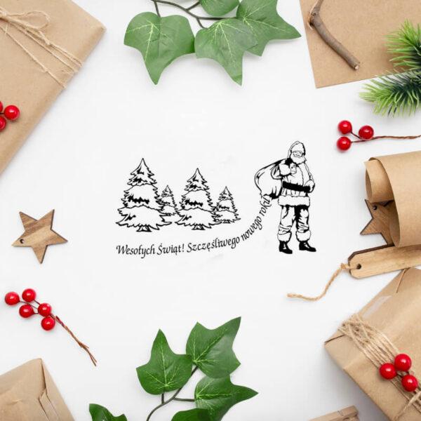stempel świąteczny z Mikołajem i choinkami