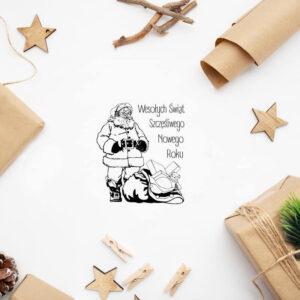stempel świąteczny z Mikołajem i workiem prezentów
